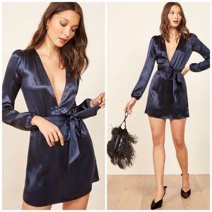 REFORMATION NORA Silk Long Sleeve Mini Dress